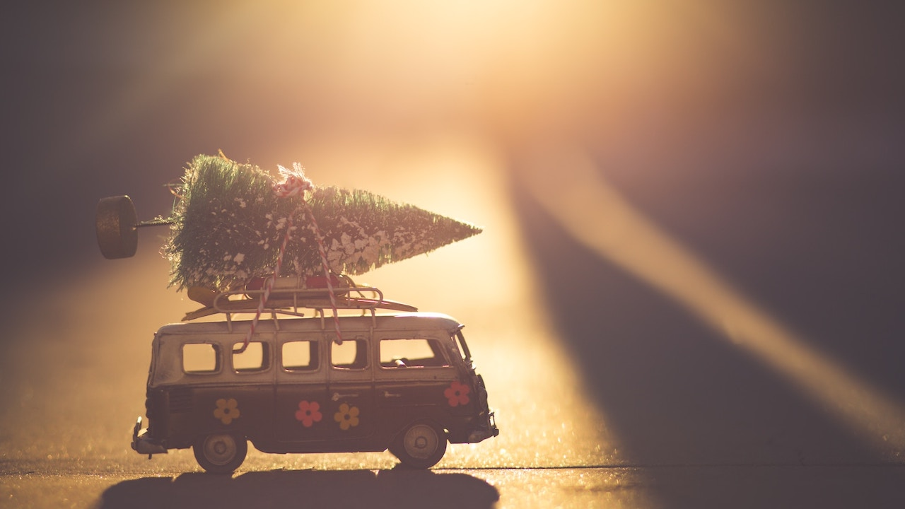 toy van with Christmas tree -