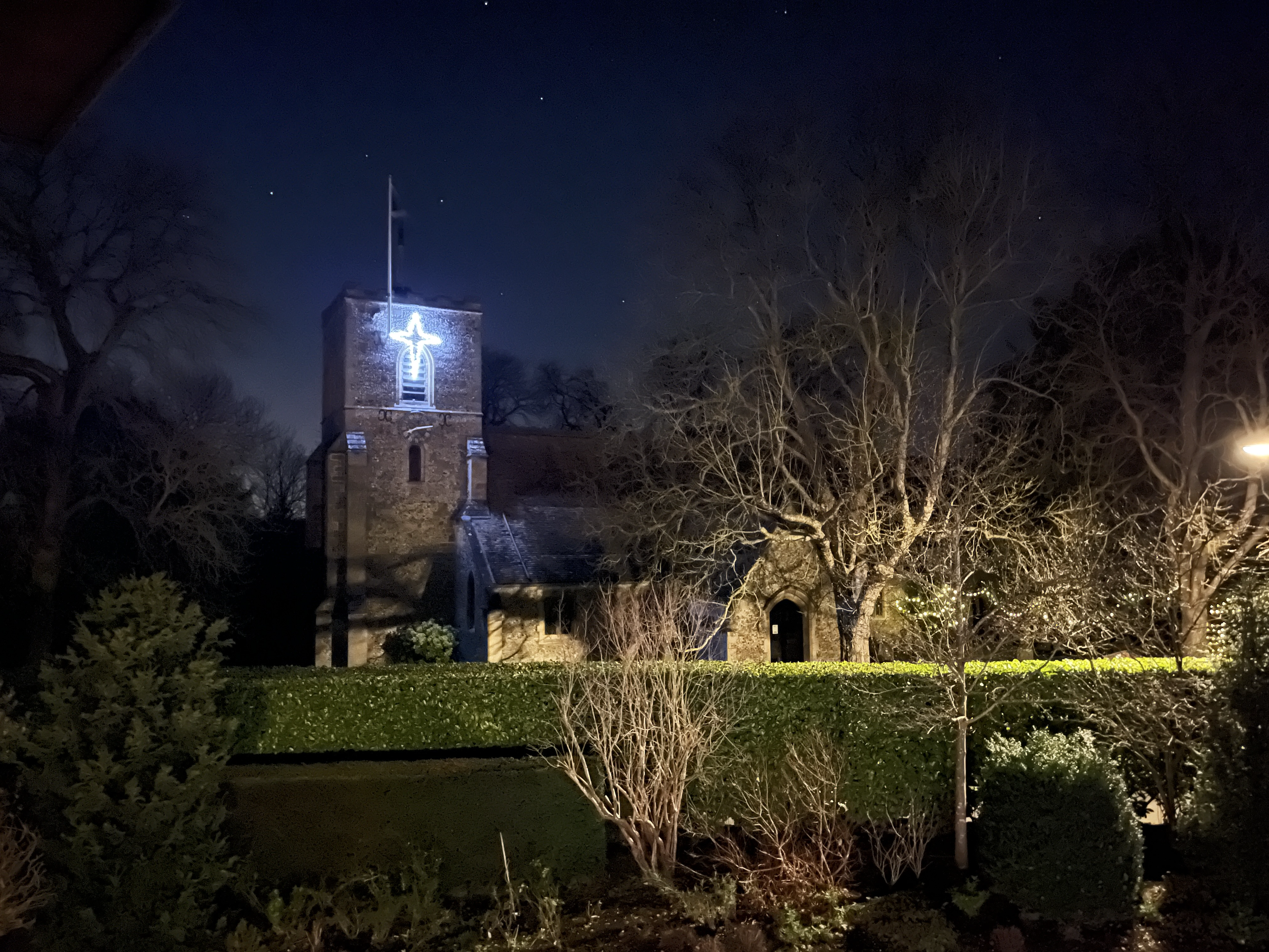 Church with star - from across